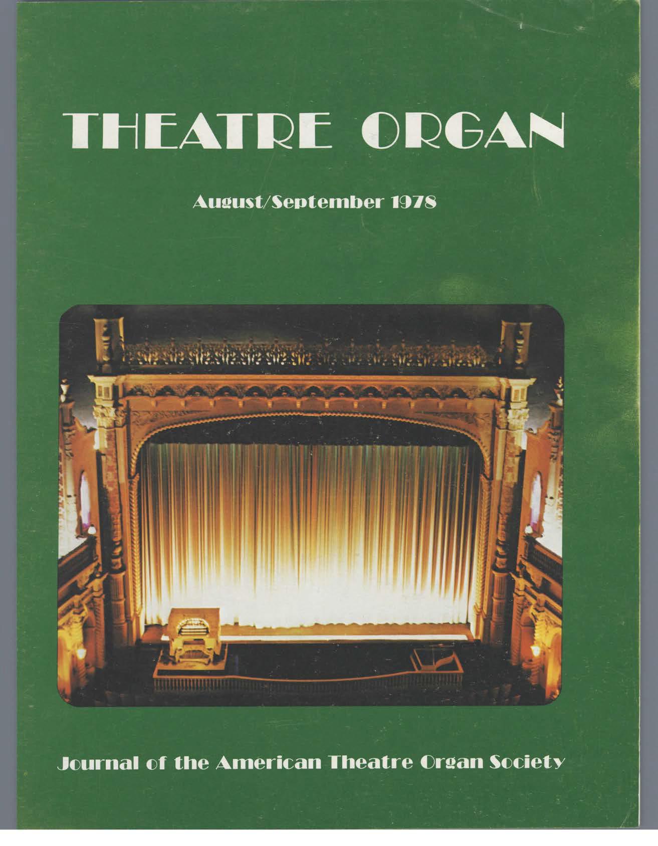 Theatre Organ, August - September 1978, Volume 20, Number 4