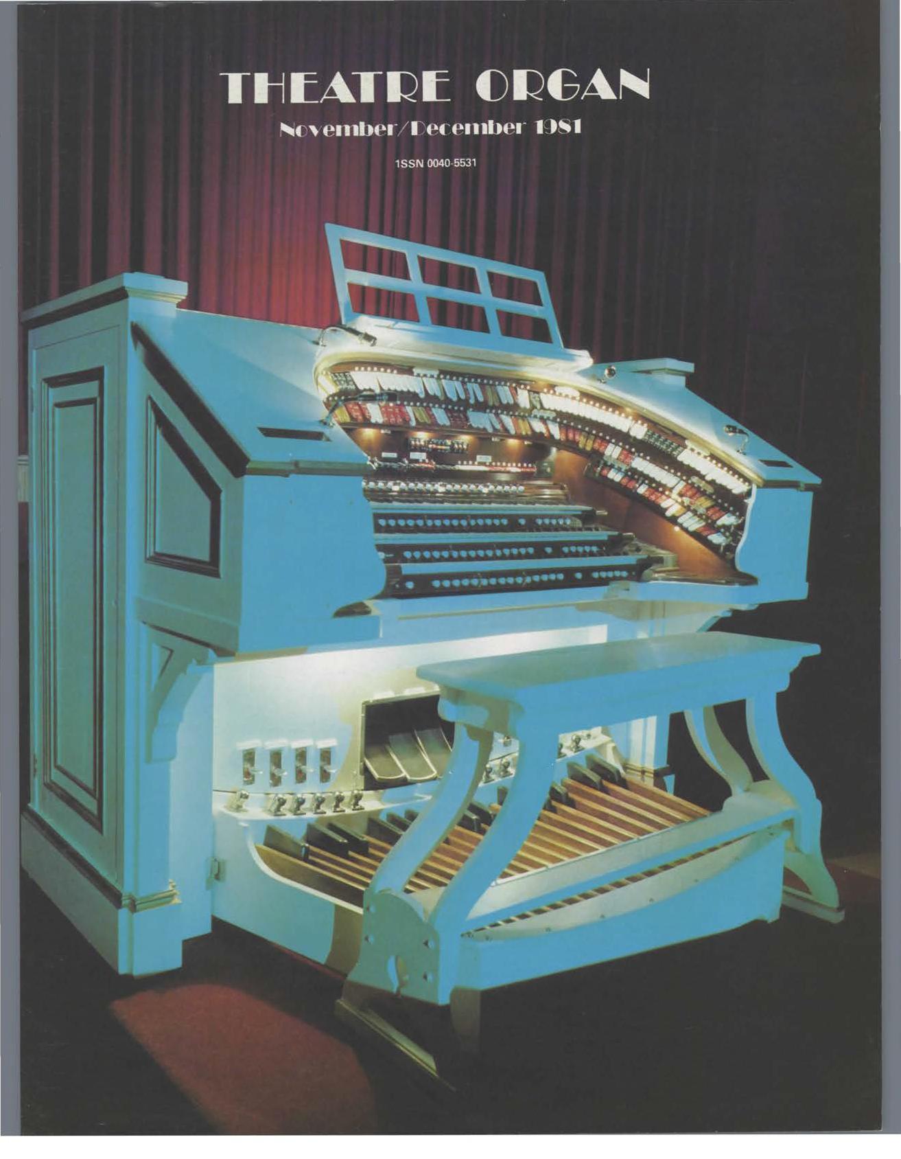 Theatre Organ, November - December 1981, Volume 23, Number 5