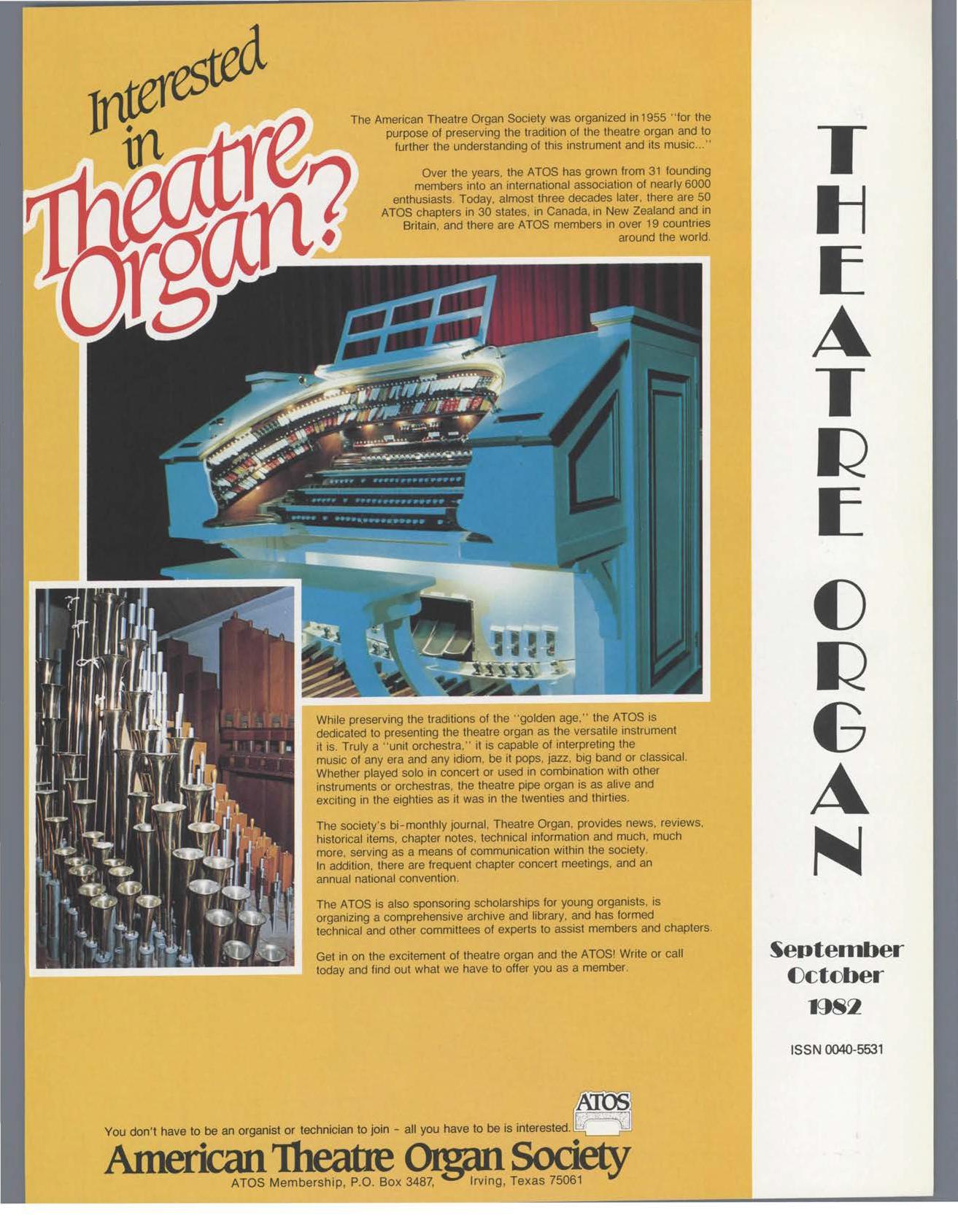 Theatre Organ, September - October 1982, Volume 24, Number 5
