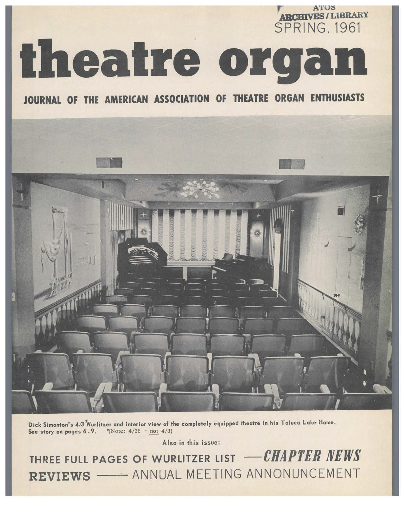 Theatre Organ, Spring 1961, Volume 3, Number 1