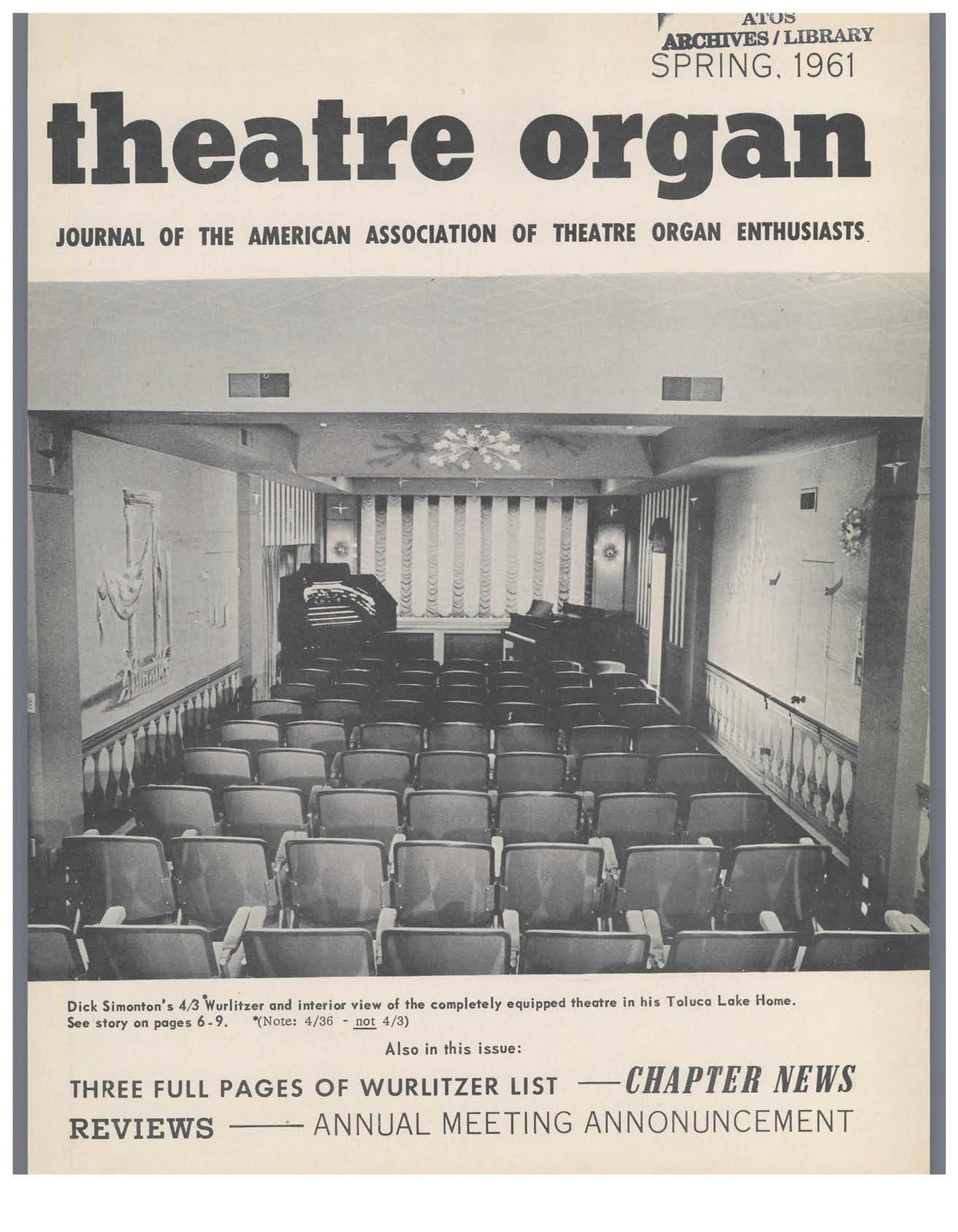 Theatre Organ, Spring 1961, Volume 3, Number 1