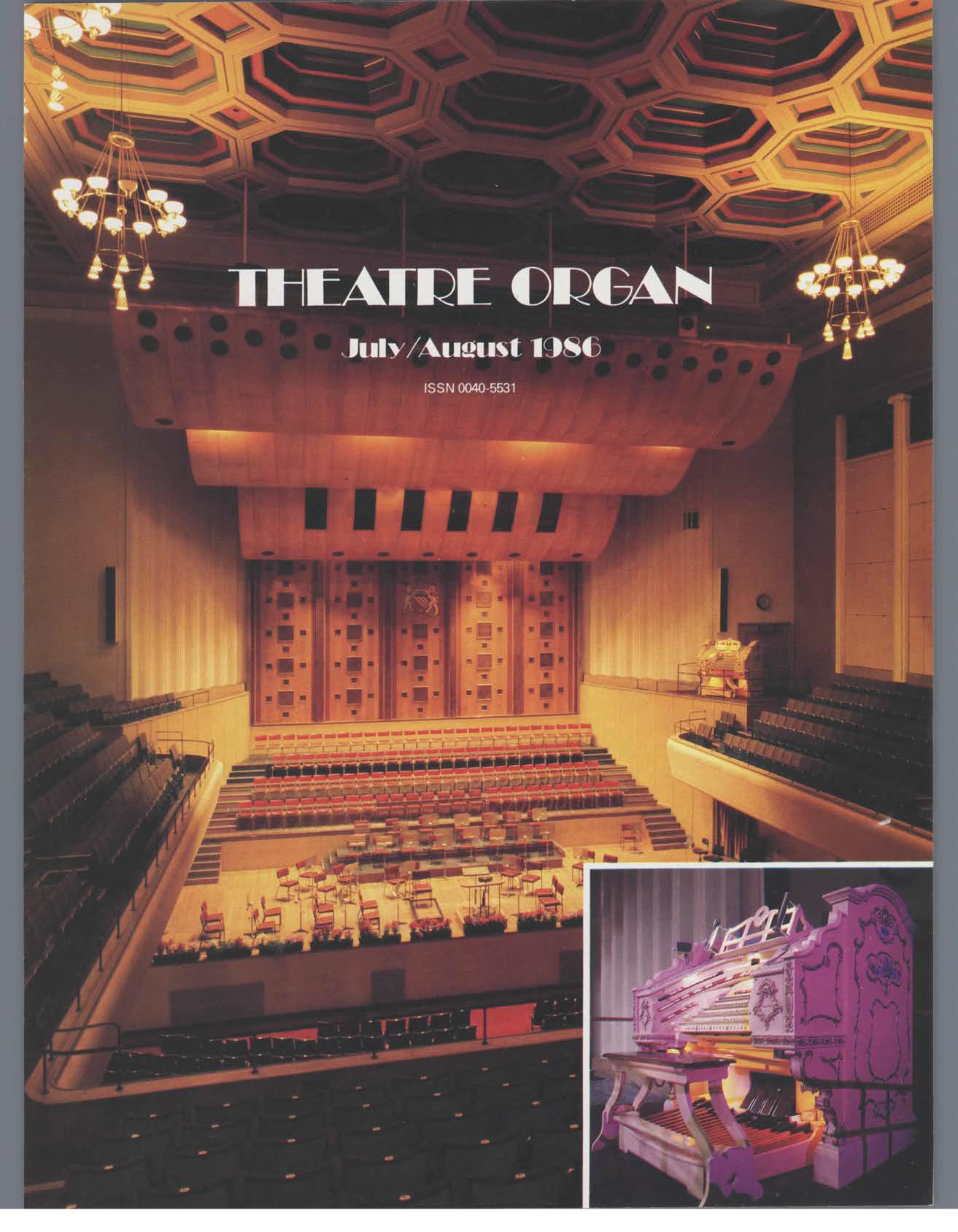 Theatre Organ, July - August, Volume 28, Number 4