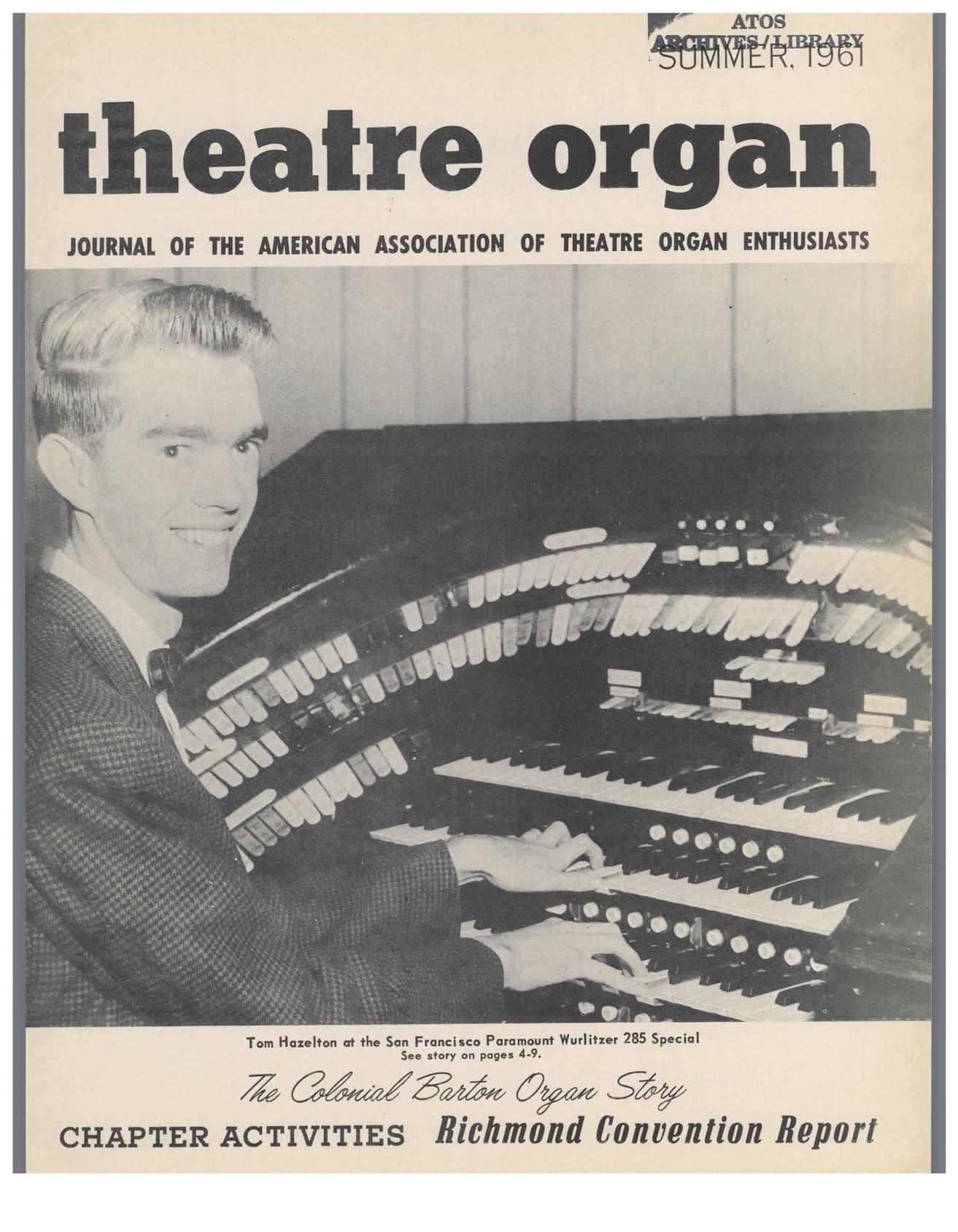 Theatre Organ, Summer 1961, Volume 3, Number 2