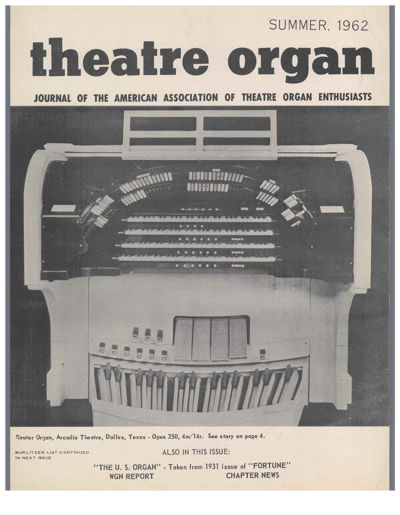 Theatre Organ, Summer 1962, Volume 4, Number 2