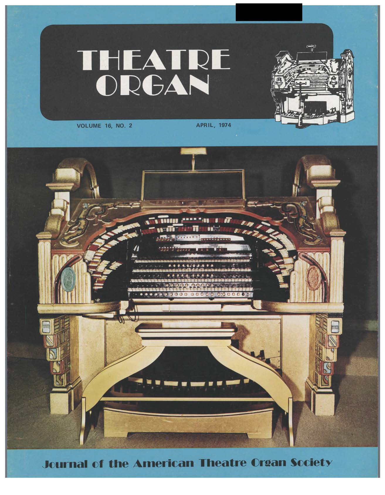 Theatre Organ, April 1974, Volume 16, Number 2 Cover