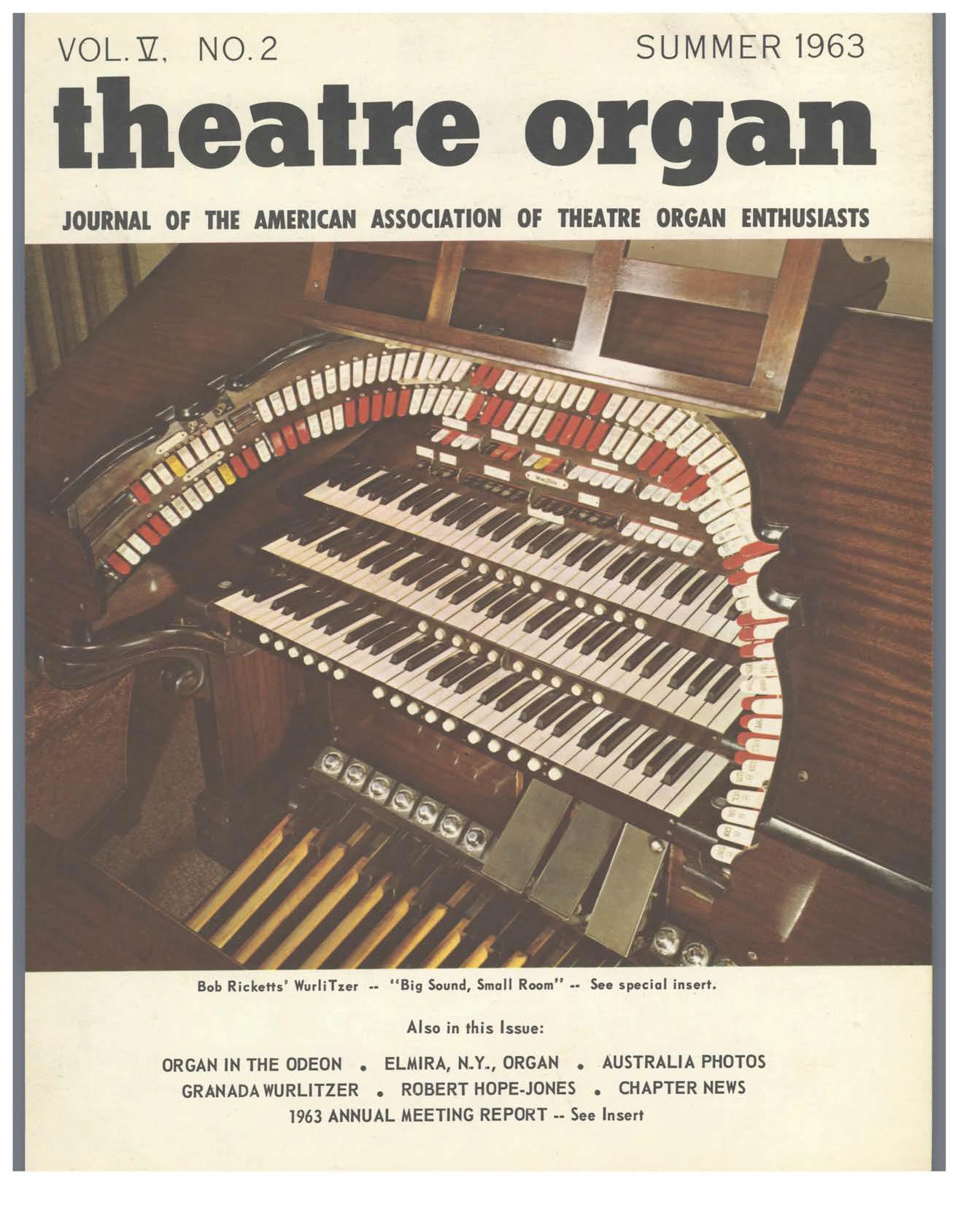 Theatre Organ, Summer 1963, Volume 5, Number 2