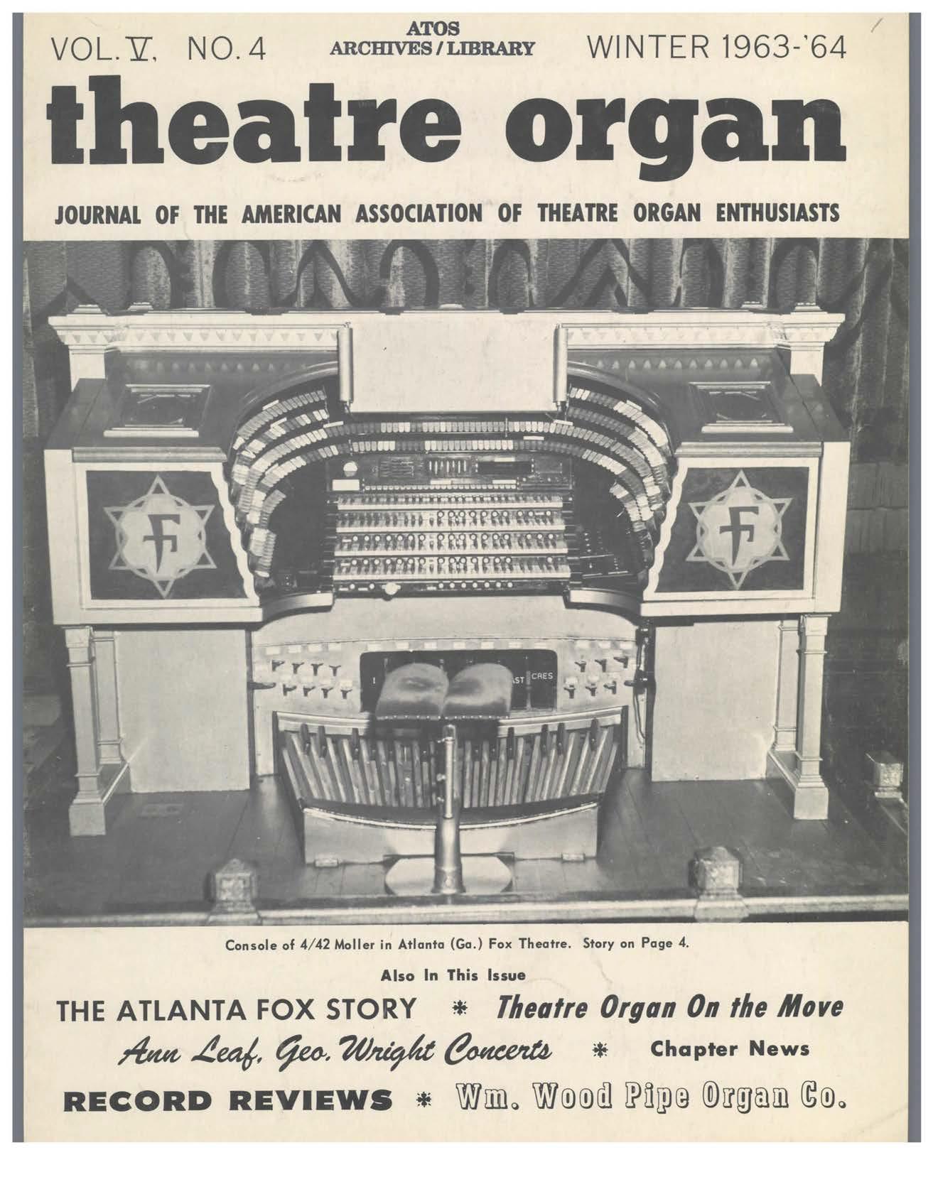 Theatre Organ, Winter 1963, Volume 5, Number 4