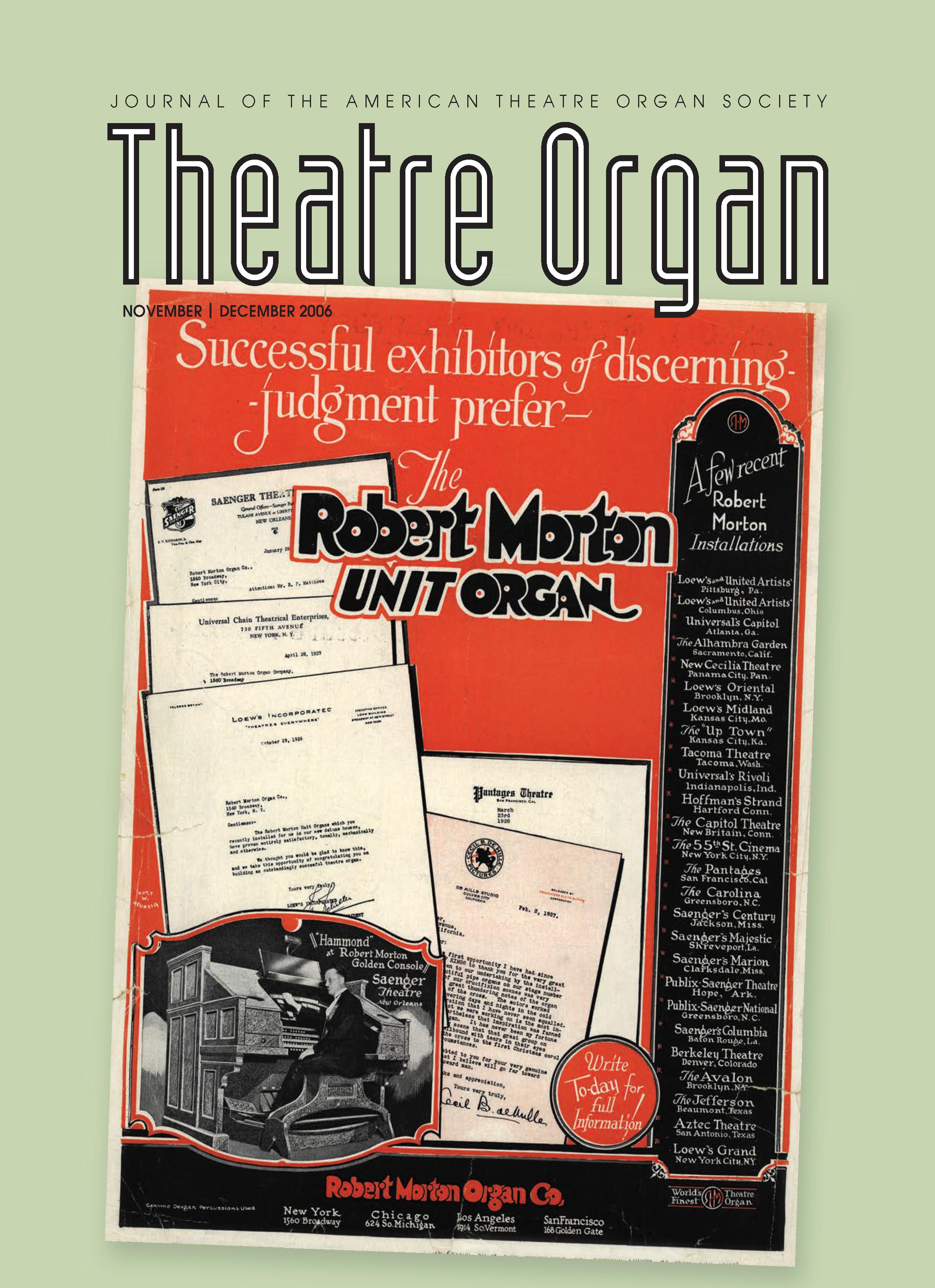 Theatre Organ, November - December 2006, Volume 48, Number 6