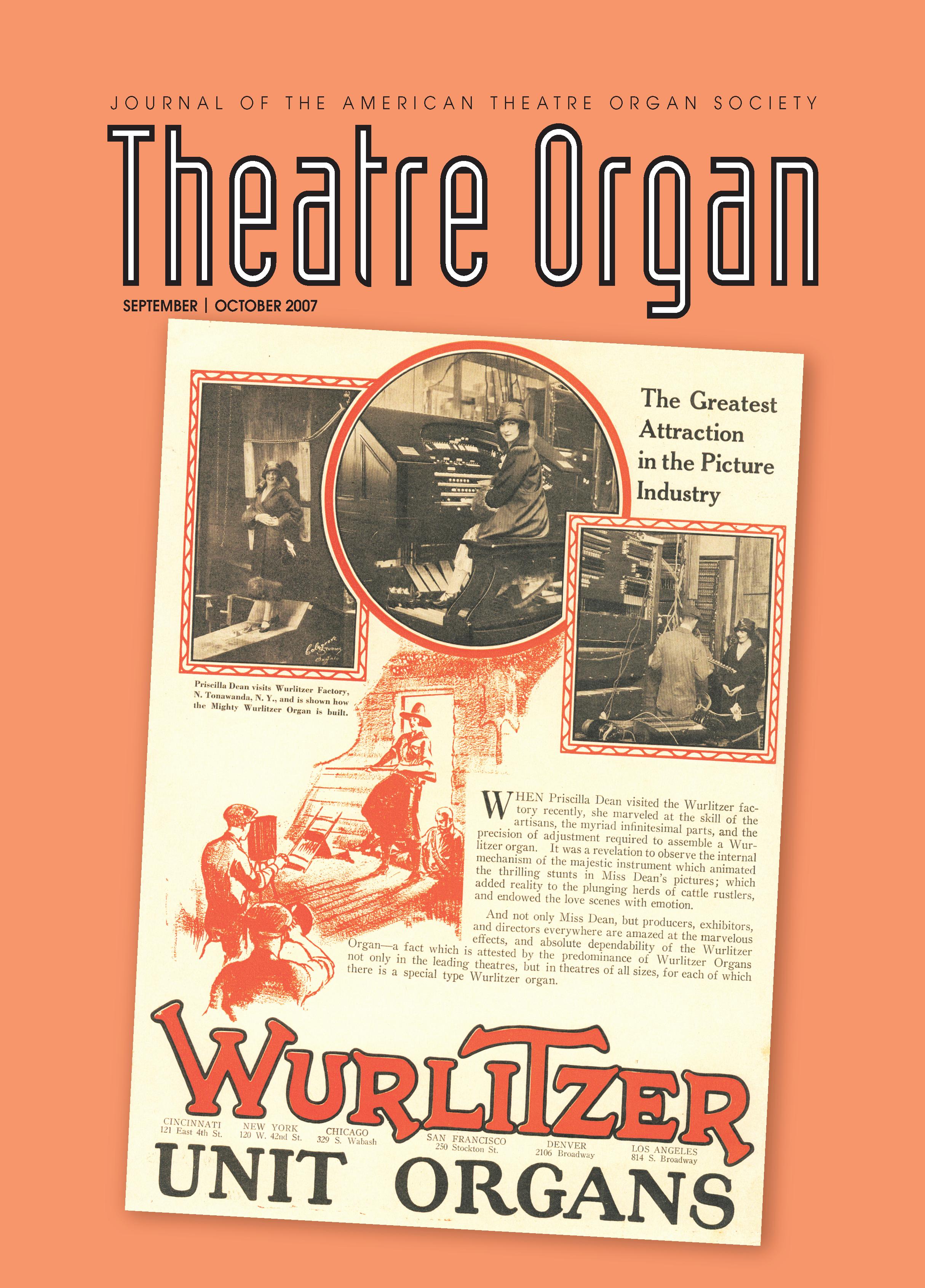 Theatre Organ, September - October 2007, Volume 49, Number 5