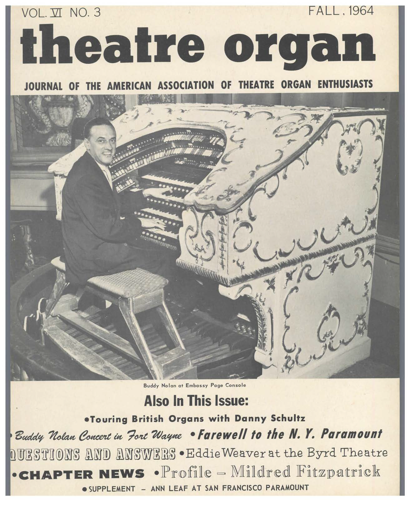 Theatre Organ, Fall 1964, Volume 6, Number 3