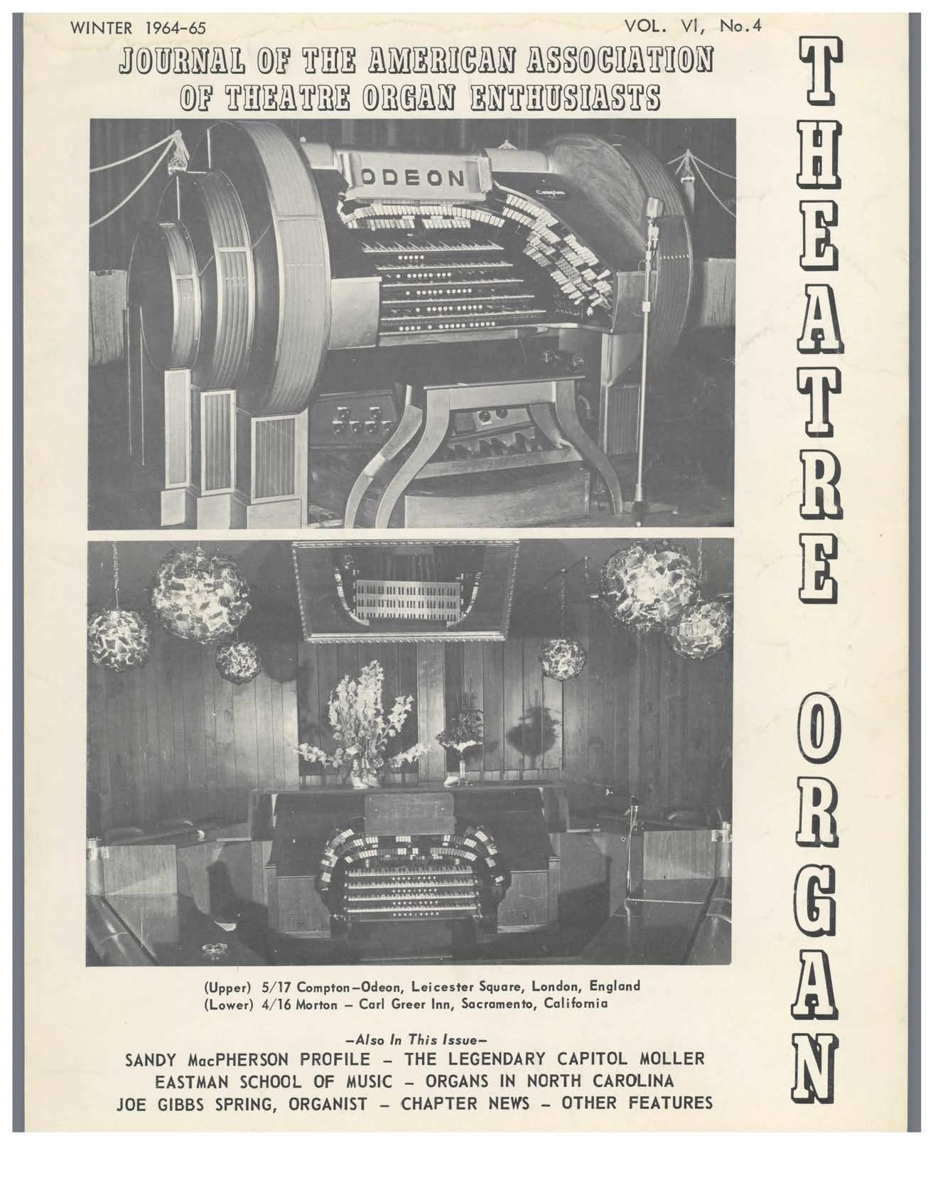 Theatre Organ, Winter 1964, Volume 6, Number 4