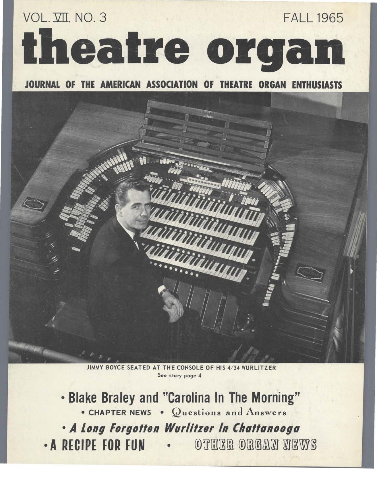 Theatre Organ, Fall 1965, Volume 7, Number 3