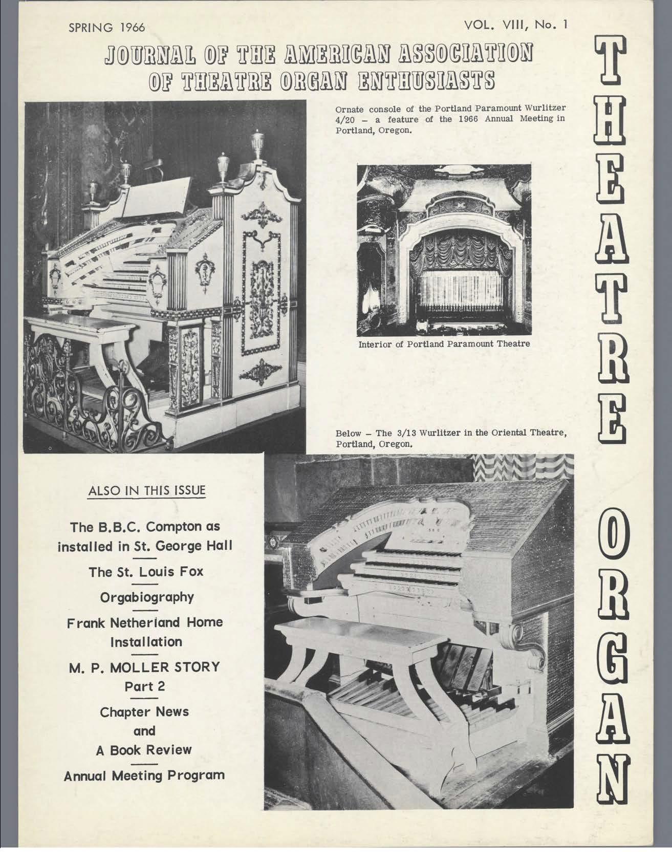 Theatre Organ, Spring 1966, Volume 8, Number 1
