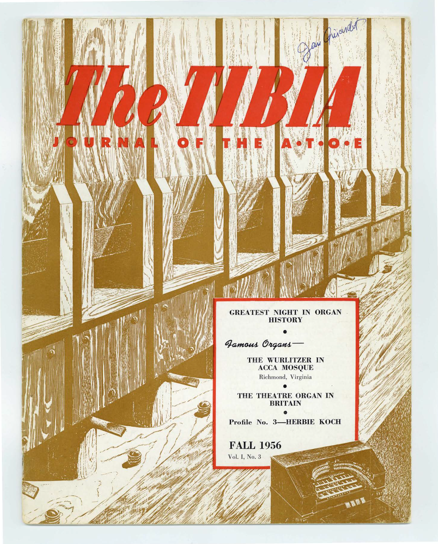 The Tibia (Theatre Organ), Fall 1956, Volume 1, Number 3
