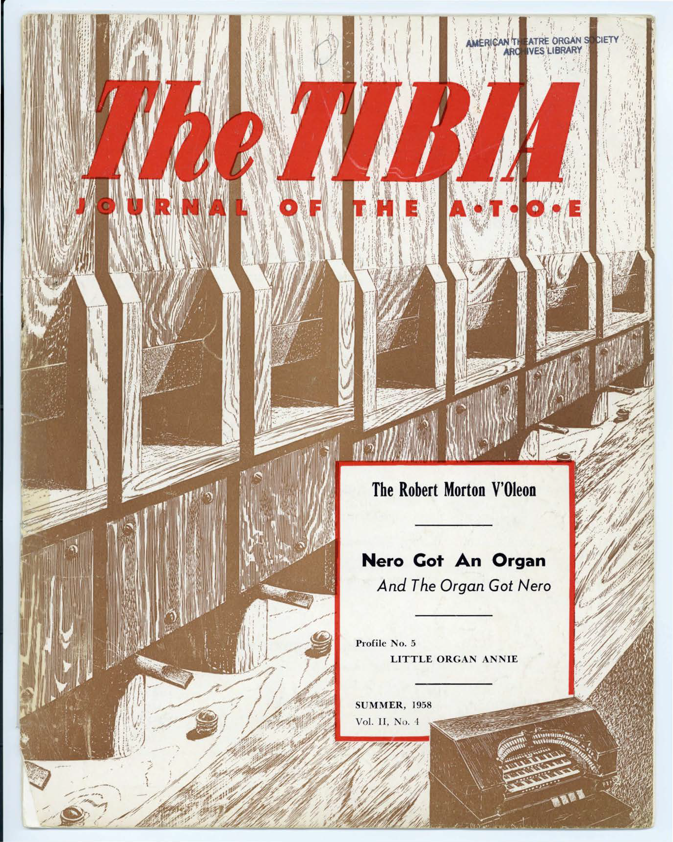 The Tibia (Theatre Organ), Summer 1958, Volume 2, Number 4