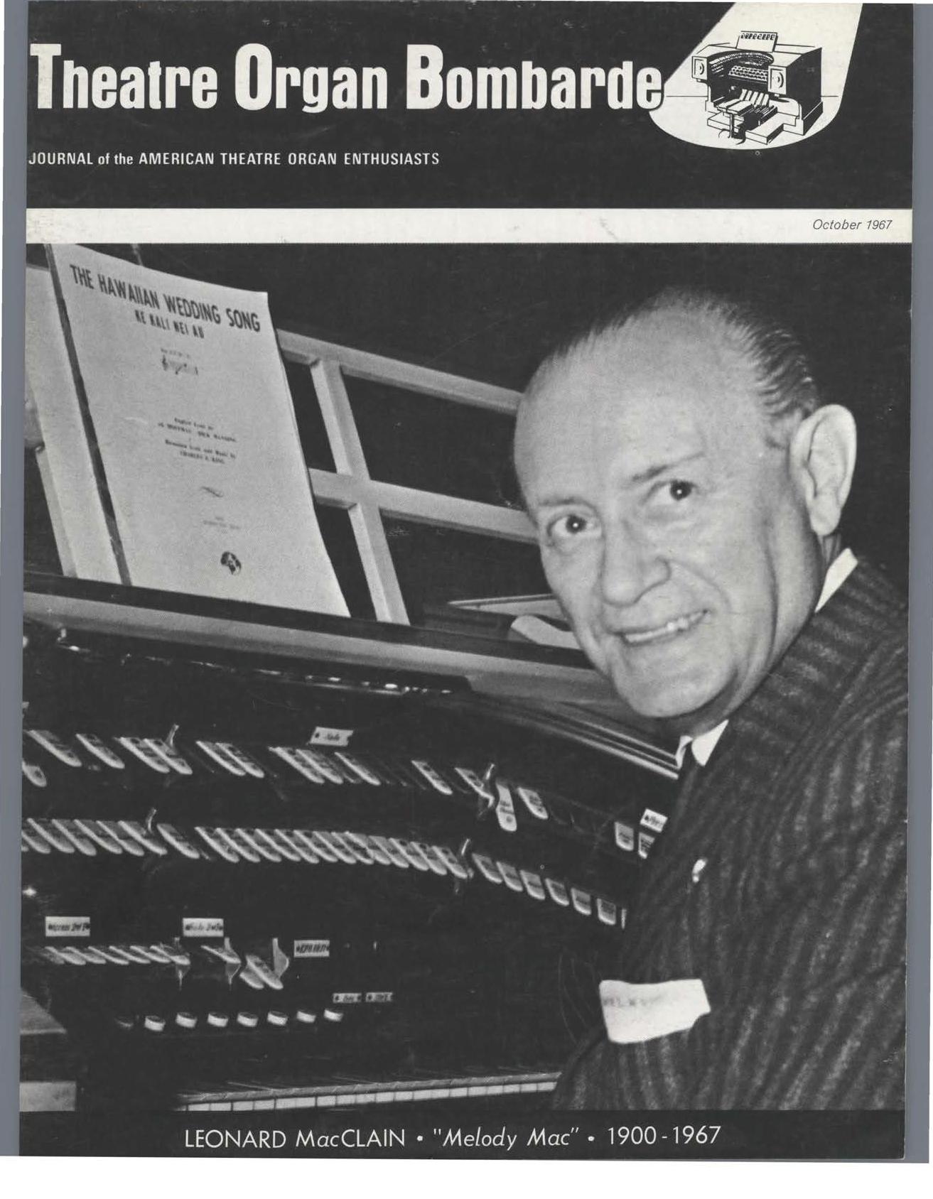 Theatre Organ, October 1967, Volume 9, Number 5