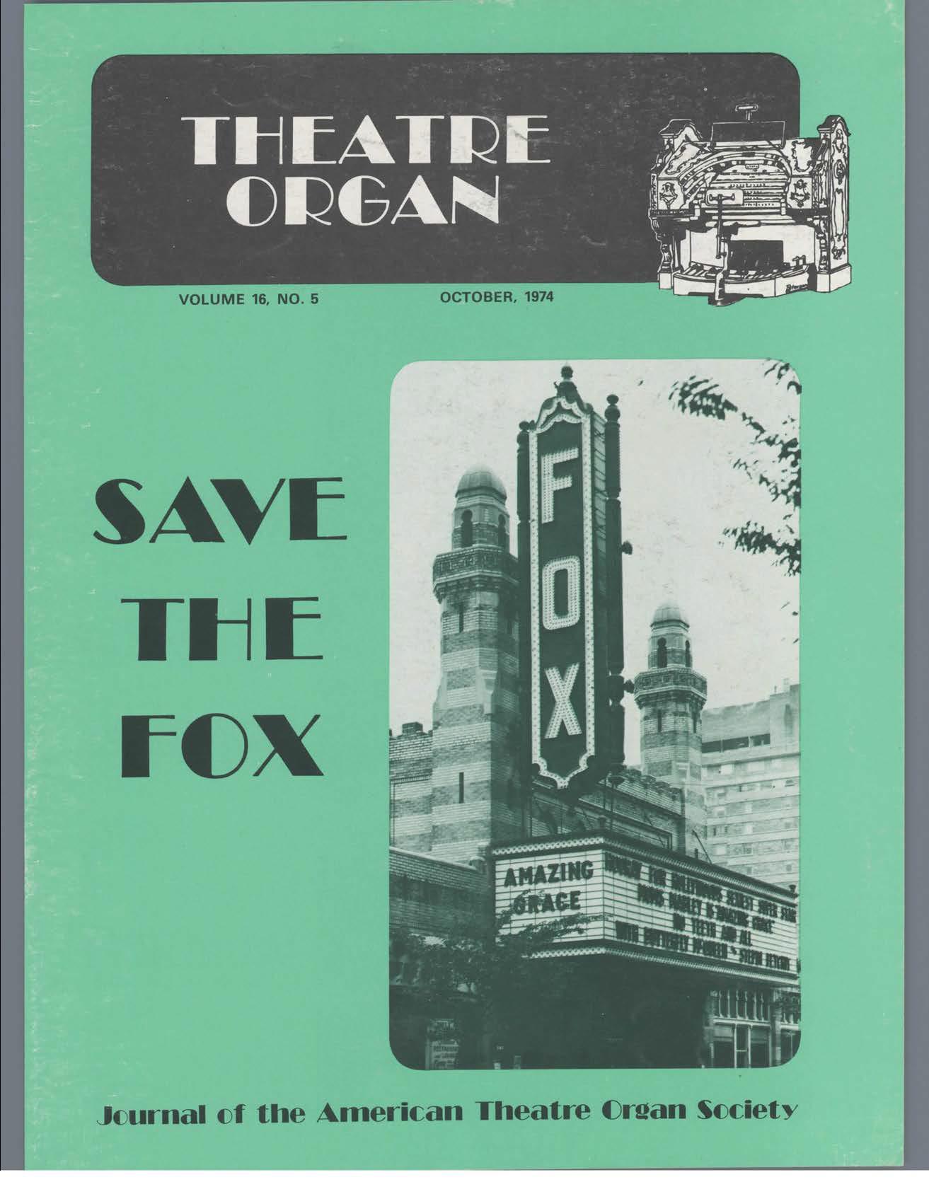 Theatre Organ, October 1974, Volume 16, Number 5