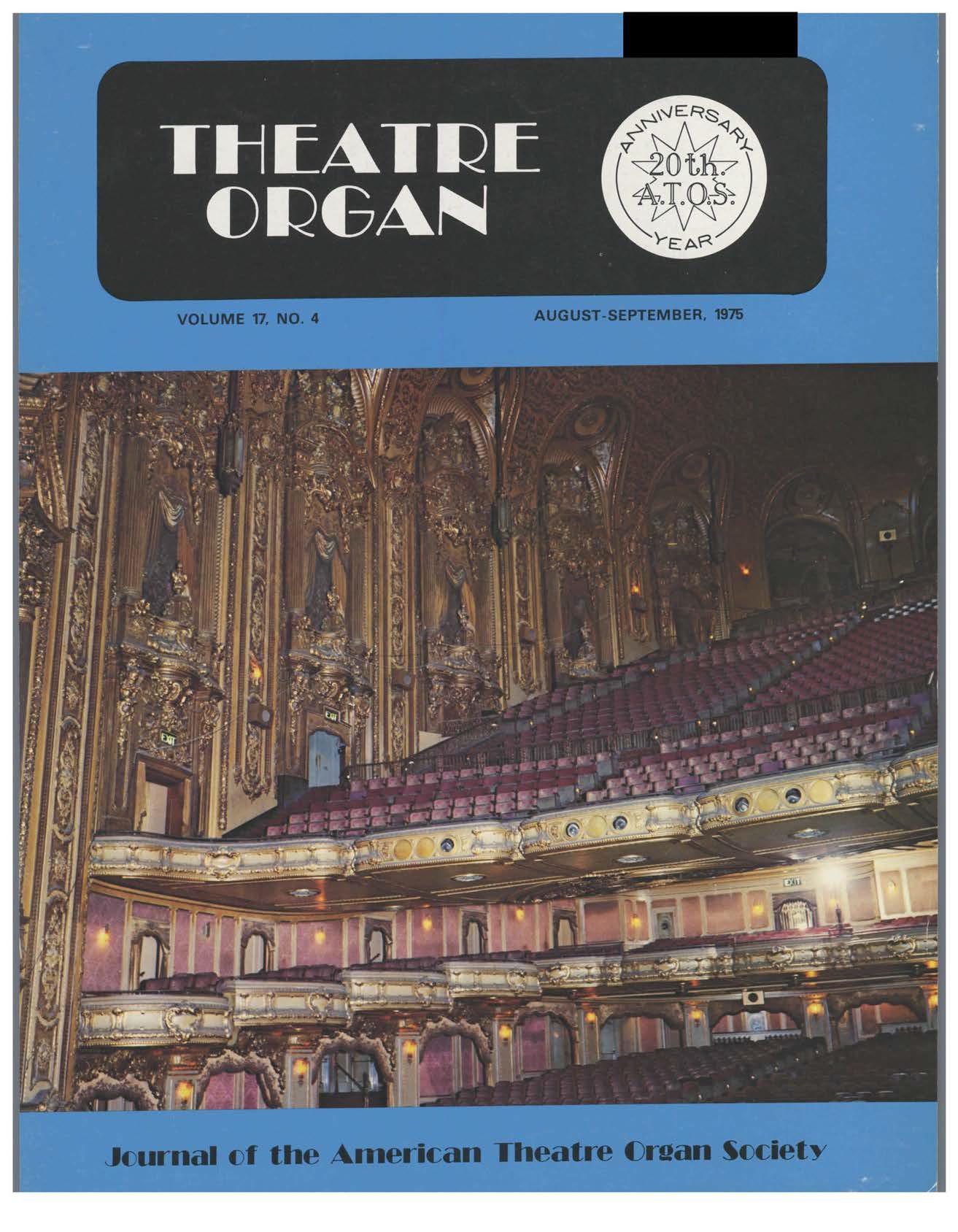 Theatre Organ, August - September 1975, Volume 17, Number 4