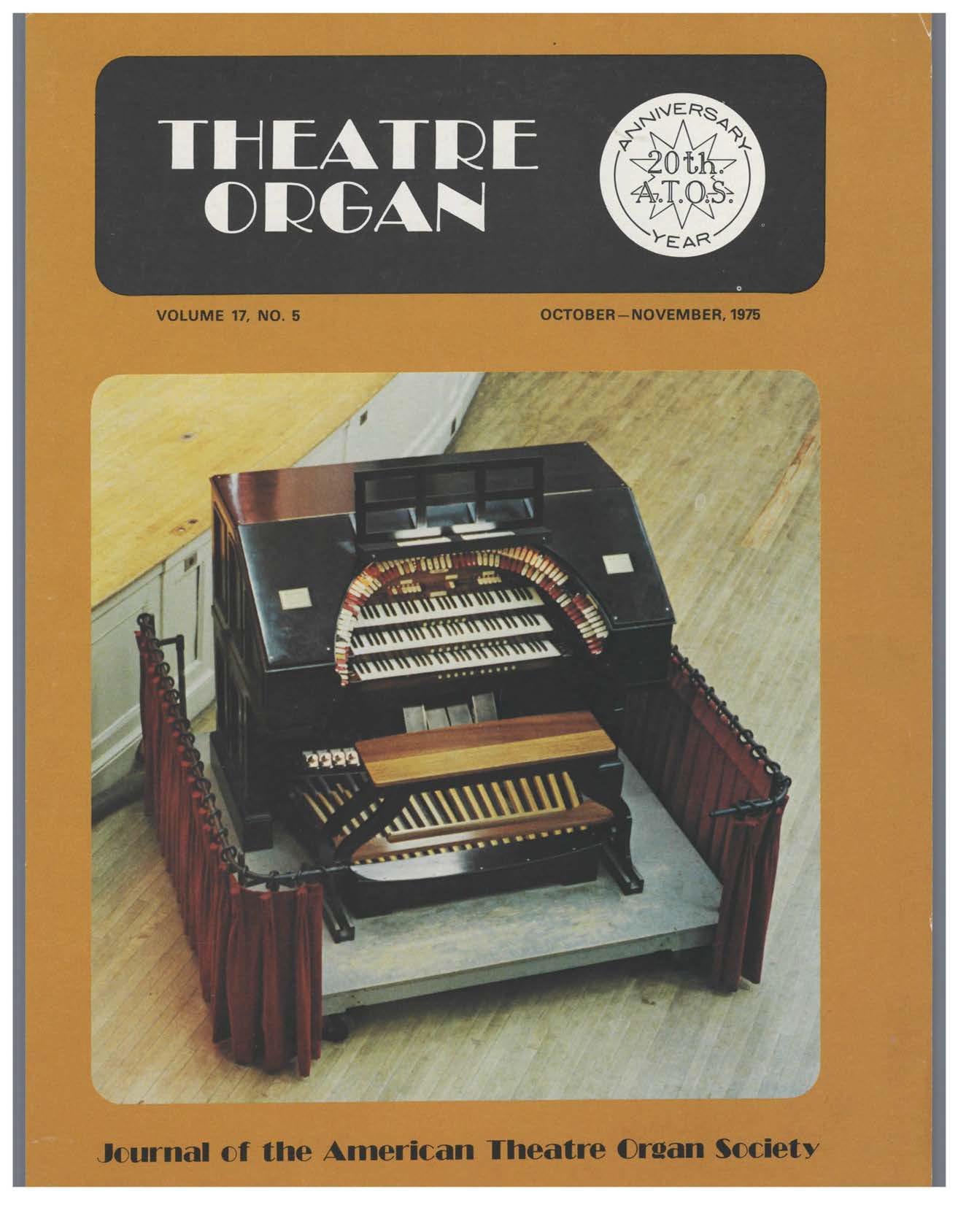 Theatre Organ, October - November 1975, Volume 17, Number 5