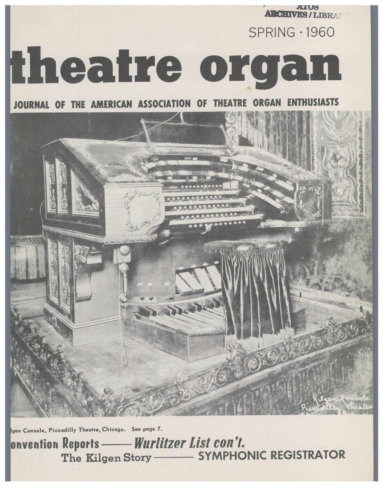 Theatre Organ, Spring 1960, Volume 2, Number 1