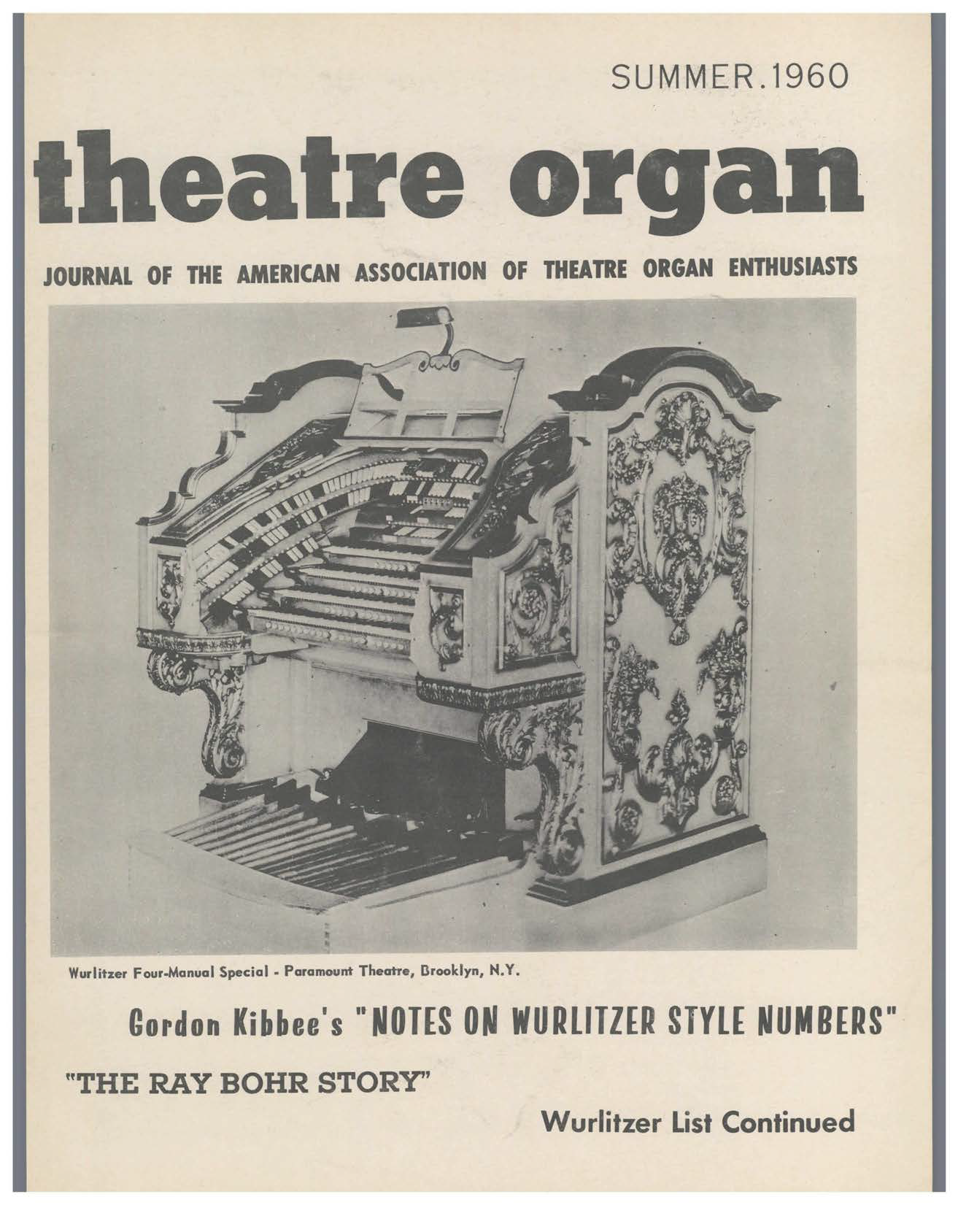 Theatre Organ, Summer 1960, Volume 2, Number 2